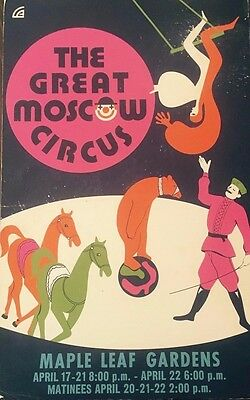 The Great Moscow Circus Toronto Maple Leaf Gardens Poster Original Cardboard