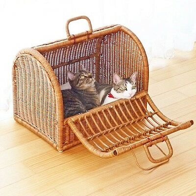 Japanese Rattan Pet  Carry Basket Large Type45cm Wide made of Indonesian Rattan