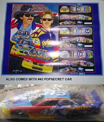 2000 Nascar Sam Bass Lithograph Hand Signed #239/3000 Andretti & Richard Petty +