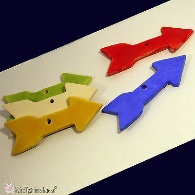Handmade Ceramic Arrows 11*3.5cm, Bisque Arrow Tiles from Clay in many Colors