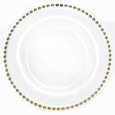 "8 pcs 12"" Gold Rim CLEAR GLASS CHARGER PLATES Wedding Party Dinner Supplies SALE"