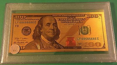 $100 Dollar Usa Gold Plated Bank Note