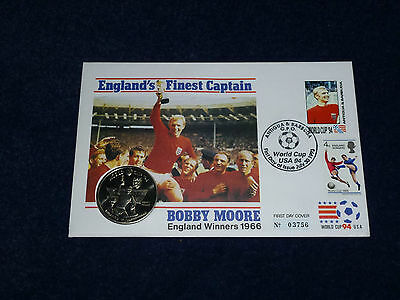 Bobby Moore England 1966 First Day Cover With 5 Crown Coin World Cup Usa 1994