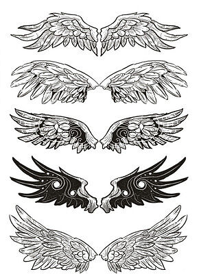 Waterproof Temporary Fake Tattoo Stickers Cool Black Grey Angel Wings Classic