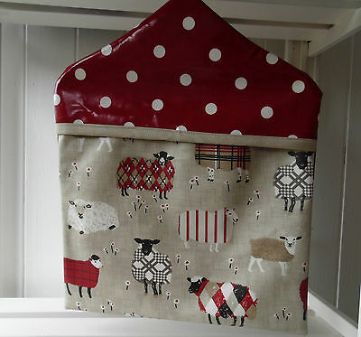 Baa baa sheep in tweeds & red spotty oilcloth peg bag Ruby Gingham