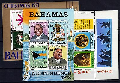 BAHAMAS Christmas Lot 3 Sheets Blocs 1970/1971/1973 MNH **