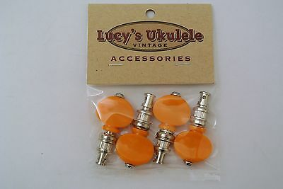 Lucy's Ukulele Vitage Style Color Friction Pegs Tuners Orange Buttons