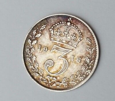 1916 - Silver - 3d Three Pence - Great Britain - King George V - English UK Coin