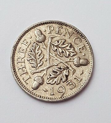 1931 - Silver - 3d Three Pence - Great Britain - King George V - English UK Coin