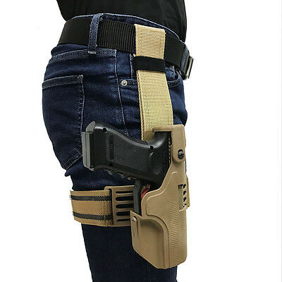 Automatic Loaded and Locking Right Hand Leg Pistol Holster for Glock 17/18/19