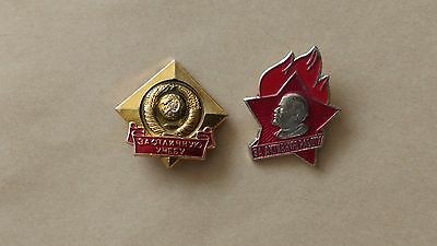 Set Badge For Excellent Study Icon For Active Work Pin Soviet Union USSR