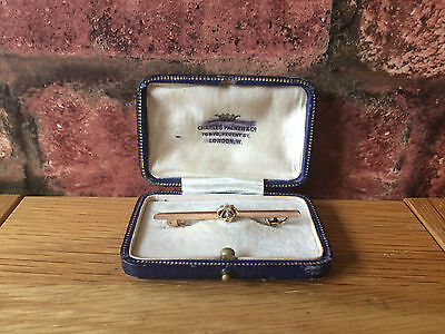 Superb Victorian 9ct Rose Gold & Diamond Solitaire Bar Brooch