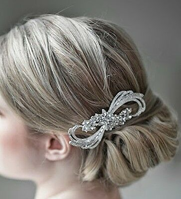 Wedding Bridal Vintage Diamante Rhinestone Crystal Silver Hair Comb Headpiece