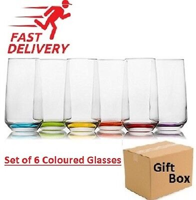 6x Coloured Base Glasses Drinking Water Cocktails Juice Highball Style Glassware