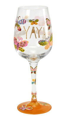 Here's To You Yay - Butterflies Glass (Papersalad) Celebration Wine Gift Party