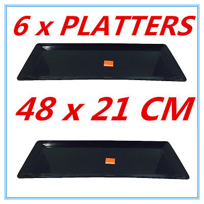 6 x Large Melamine Serving Platter 48 x 21cm Black Serving Tray Catering Tray FD