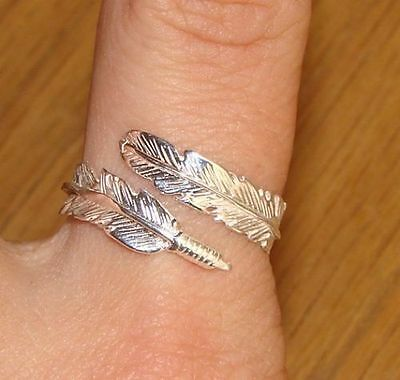 925 Sterling Silver Feather Ring Angel Spirit Adjustable M N O P Q R S FEATHER