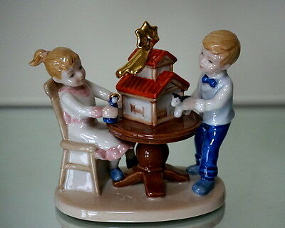 Clara & Peter decorating the presepe, Royal Copenhagen figurine