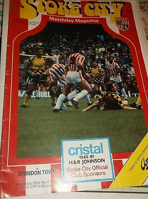 Stoke City V Swindon Town Division 2 1987/88 Season Football Match Day Programme