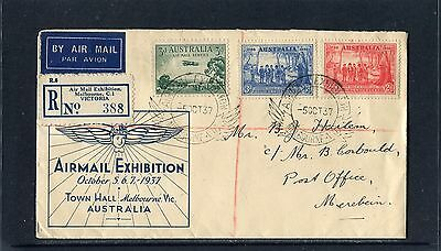 1937 Air Mail Exhibition Registered Special Cover, Has Show Label On Back, VGC