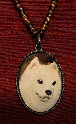 Samoyed hand painted on oval, metal pendant/bead/necklace