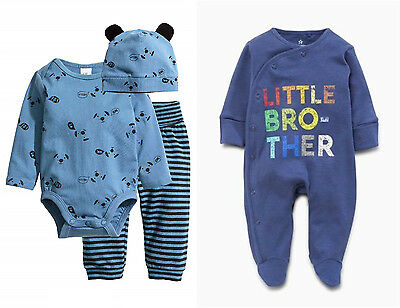 Baby Boy Bundle H&M Outfit Set (bodysuit trousers hat) and Next Sleepsuit 3-6 m