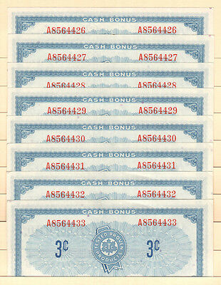 Candian Tire Money CTC S1-A - 3¢ notes from 1961, the 1st series UNCIRCULATED