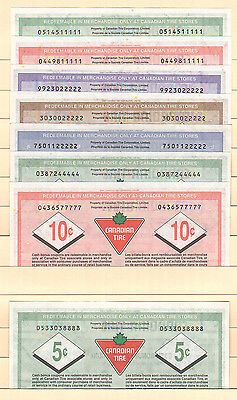 Canadian Tire Money -  8 notes in total