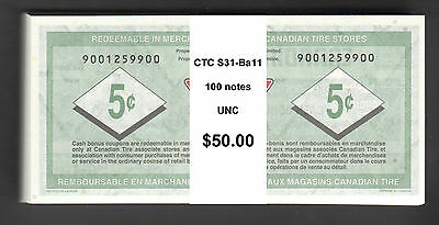 Canadian Tire Money - 100-CTC S31-Ba11 REPLACEMENT notes from 900125... range