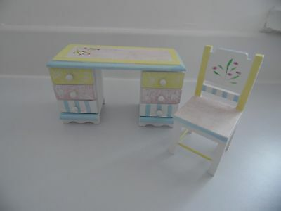 Dolls House Furniture 1 12 Pastel Painted Desk And Chair