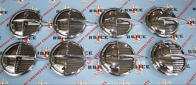 1951-1952 Buick Roadmaster Front Fender Portholes. Set of 8 Die Cast Chrome