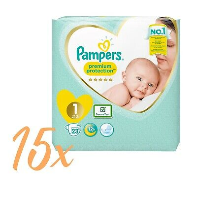 15x 23 Windeln = 345 Pampers Premium Protection Newborn New Baby Gr. 1 (2-5 kg)