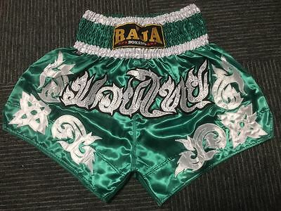 Raja Muay Thai Kick Boxing Shorts Green/silver Rtb M, L, Xl, Xxl Aus Stock
