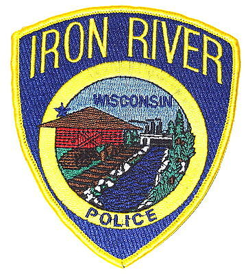 IRON RIVER WISCONSIN WI Police Patch FACTORY BRIDGE LOGS BARN RIVER~