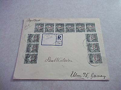 NIUE Cook Islands Stamps SG8 Strips On 1912 Cover To GERMANY Cross Bar Varieties