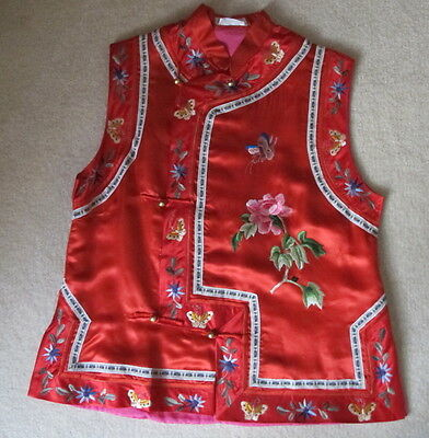 Vintage Chinese Woman's Hand Embroidered Red Silk/Rayon Vest Mandarin Collar M