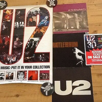 "U2 posters/ flats Promo only 84"" unforgettable fire & rattle & hum & 3D movie CO"