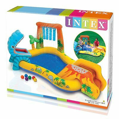 Kids Inflatable Swimming Paddling Pool Slide Intex Dinosaur Water Play Centre
