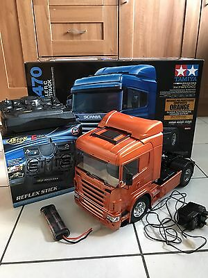 BUILT Tamiya 56338 Scania R470 ORANGE EDITION + 6ch Radio, Battery And Charger