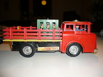 Vintage Marx Toys Ford Stake Farm Truck Chicken Carrier Flat Battery Hong Kong