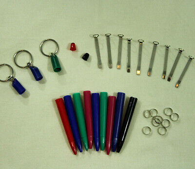 Eskesen Floaty Pen Replacement Parts Lot Barrels Clips Bands Key Rings Denmark