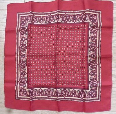 Vintage Red Paisley Macclesfield Silk Handkerchief