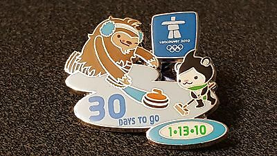 2010 Vancouver Olympic QUATCHI MIGA CURLING 30DAYS TO GO PIN