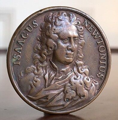 Isaac Newton Bronze Medal, 1727. Rare Death Medallion. 33mm.