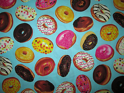 Donuts Icing Donut Sweets Blue Cotton Fabric Bthy