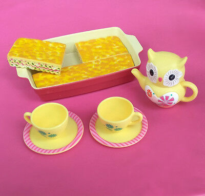 American Girl Doll Food Lasagna in Plates with tea Set Delicious Dinner