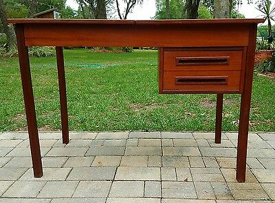 Teak Walnut Vanity Dressing Table desk mid-century Danish modern Vintage retro