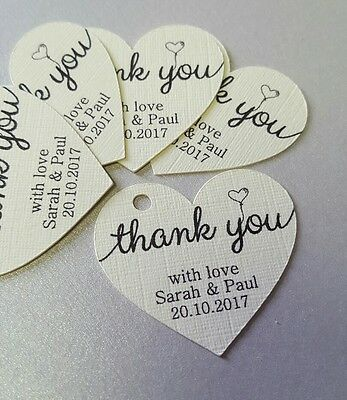 10 x Wedding favour tags, Personalised hearts in cream 3.5cm