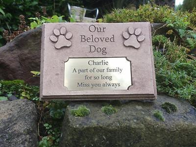 Personalised Our Beloved Dog Memorial Marker Stone with Plaque Antique Finish