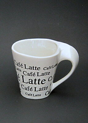 White Cafe Latte Coffee Mug With Black Lettering SLIGHTLY USED